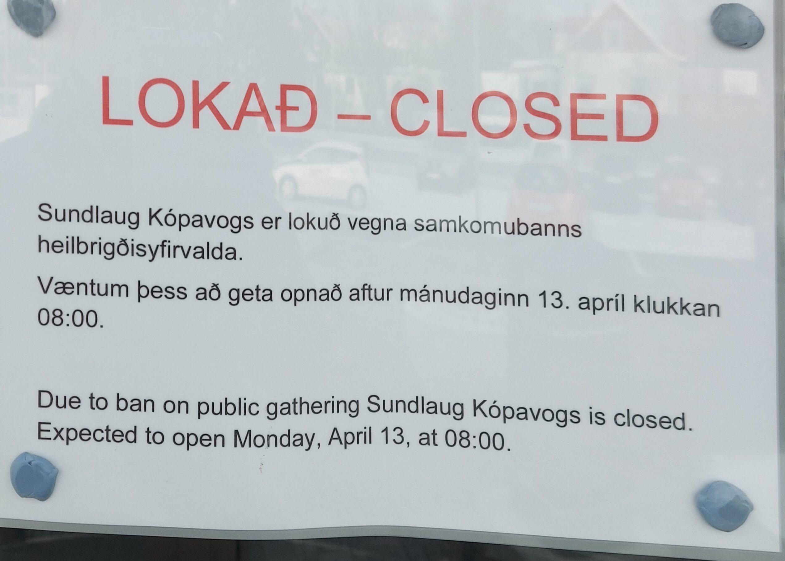 Sundlaugar lokaðar til 13. apríl?